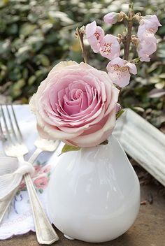 Pink rose and stone white pitcher so simple so sweet