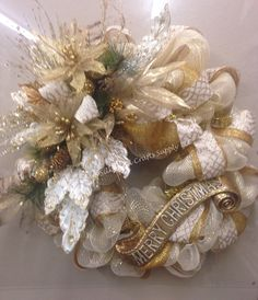 Cream and gold Merry Christmas wreath