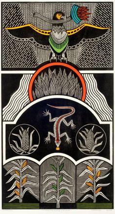 """Samico, A conquista do fogo e do grão (2010), xilogravura 94,8 x 51,3 cm  Reprodução fotográfica do catálogo da exposição """"Samico-Xilogravuras"""", Galeria Estação, São Paulo, 2012."""