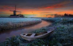 """Windmill in """"Frosty Field, Holland"""" ~ photo by Wim Lassche"""