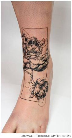 'Efflorescence' - Graphic style peony tattoo on the left foot. By Mowgli - Through My Third Eye (London).