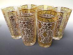 Georges Briard Barware | Georges Briard gold paisley glassware