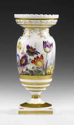 A rare Grainger Lee and Co. vase of Welsh interest, circa 1825 Of ovoid shape with a lobed rim and square plinth, painted by David Evans with a continuous band of plants and flowers in 'Garden Scenery' style, within gilded borders, 21cm high, 'Grainger Lee and Co Worcester' in red script