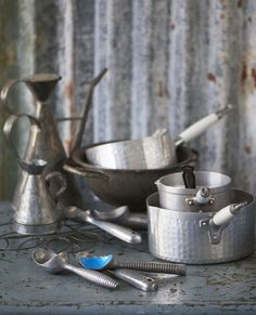 Kitchen still life shot vintage props- saucepans ice cream scoops metal daylight  /  Polly Webster Photography