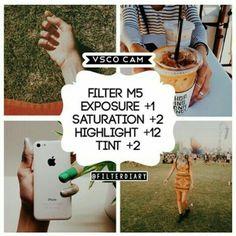 M5 Exposure +1 Saturation +2 Highlights Save +12 Tint +2
