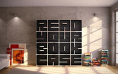 A shelf that not only stores books but gives you a little extra something to read too !! The ABC bookshelf, minimalist in design, yet anything but minimalist in function, is a bookshelf made up of individual cubes, each of which is a letter of number that you can twist or turn to spell out absolutely anything that your heart desires