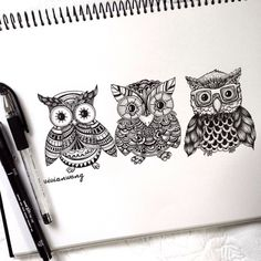 Tríptico Owl | Negro Fineliner Pen (Encuéntrame en https://www.colour-to-inspire.tumblr.com o https://instagram.com/vivianhitsugaya) No quite crédito.