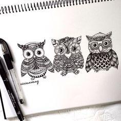 Tríptico Owl | Negro Fineliner Pen (Encuéntrame en https://www.colour-to-inspire.tumblr.com o https://instagram.com/vivianhitsugaya) No quite crédito.