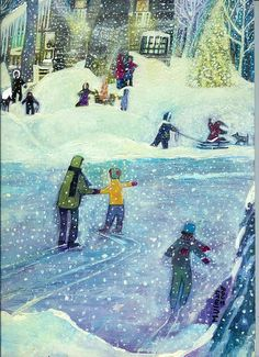 ice skating on a pond with the kids in CT.....Winter at Otter Lake,  by Margaret Ulman
