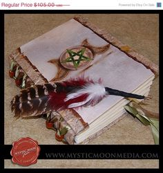 Wooded Triple Moon with Pentagram Book of Shadows #Wicca