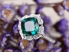 Emerald engagement ring diamond ring,Solid 14k white gold,promise ring,7mm Cushion Cut emerald halo ring custom made fine jewelry,art deco - BBBGEM
