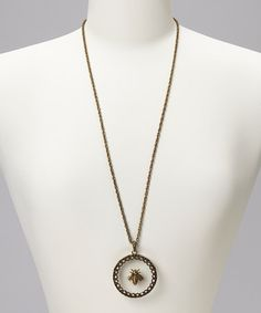 Take a look at this Brass Oxidized Bee Pendant Necklace by Marlyn Schiff on #zulily today!