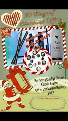 November All eyes on you! Create the perfect eyelook this Christmas party season with our volumising or lengthening mascara & liquid precision eye liner & in in order to keep your lashes conditioned enjoy an eye make up remover gift! Eye Make-up Remover, Make Up Remover, Christmas Offers, Party Eyes, Lengthening Mascara, Christmas Fairy, Christmas 2015, Perfect Eyes, Forever Living Products