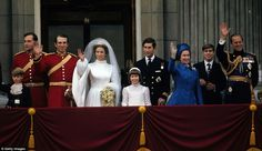 The Queen's dress exhibit. Visitors can also see the outfit that Her Majesty wore to her daughter, Princess Anne's wedding to Captain Mark Phillips in November 1973 (pictured). The royal blue coat dress with diamond-shaped buttons and matching hat (below) was also designed by Sir Norman Hartnell