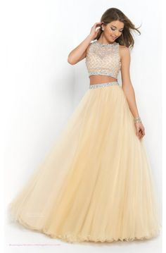 A-line Tulle Jewel Gold/Champagne Prom Dress