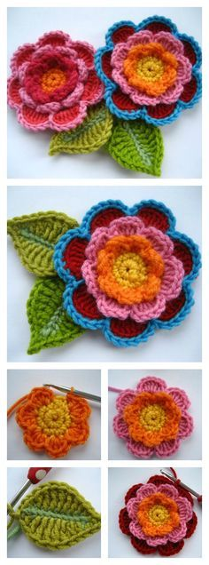 Crochet Puff Flower Crochet Beautiful Triple Layer Flower Free Pattern and Tutorial - This colorful Crochet Triple Layer Flower come with leaves looks stunning. You can use these beautiful crochet flowers as ornaments for a lot of things. Beau Crochet, Crochet Puff Flower, Crochet Flower Tutorial, Crochet Flower Patterns, Love Crochet, Irish Crochet, Beautiful Crochet, Crochet Flowers, Crochet Baby