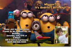 DESPICABLE ME MINIONS Birthday Party Invitations - Get these invitations RIGHT NOW. Design yourself online, download and print IMMEDIATELY! Or choose my printing services. No software download is required. Free to try!