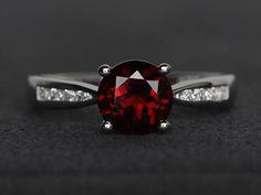 round cut garnet ring red gemstone ring garnet engagement ring
