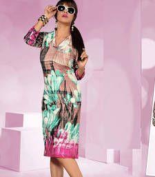 Buy Beautiful Rayon Cotton Printed Multicoloured Stiched Fashion Kurtis party-wear-kurti online