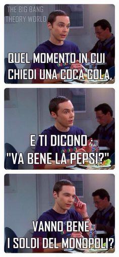 Chiedi una Coca Cola e ti danno una Pepsi - Foto divertente Funny Video Memes, Funny Jokes, Hilarious, Funny Images, Funny Photos, Italian Memes, Serious Quotes, Foto Instagram, Big Bang Theory