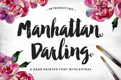 "chrisbmarquez: "" Font of the Day - Manhattan Darling Typeface by MakeMedia Co. "" Manhattan Darling Typeface was created as a dual-purpose font, with gritty, imperfect, hand-painted characters and an. Font Design, Web Design, Design Typography, Graphic Design, Typography Served, Brush Font, Brush Lettering, Handwritten Fonts, Script Fonts"
