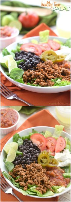 This Healthy Taco Salad is so delicious, and so filling, but without the chip and salsa hang over you get from your favorite Mexican restaurant.
