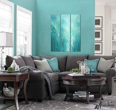 Dream Living Room Gray - Teal wall art, Large abstract painting canvas art print set, Blue green turquoise navy aqua pictures for dining or living room wall decor Living Room Color Schemes, Living Room Grey, Living Room Designs, Living Room Decor, Dining Room, Colour Schemes, Dining Area, Color Combinations, Colour Palettes
