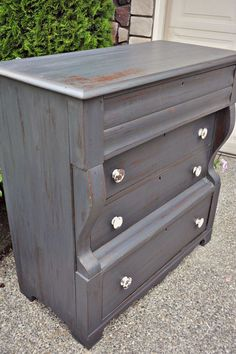 Midnight Charcoal Antique Empire Dresser - Gray Table Home