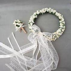 Krem çiçekli çember Gelin Tacı Ve Damat Yaka çiçeği - Dış çekim - Nişan Tacı Kına Tacı Lohusa Tacı GittiGidiyor'da 289956702
