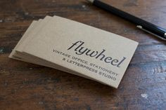 letterpress business cards on recycled buffalo board
