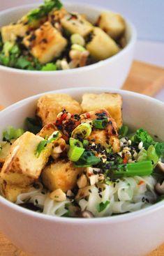 Crispy Tofu and Shiitake Mushroom Noodle Soup