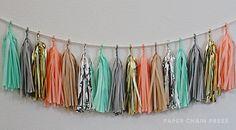 Mint Grey Tissue Tassel Garland - Includes 16 Tassels & Rope. $35.00, via Etsy.