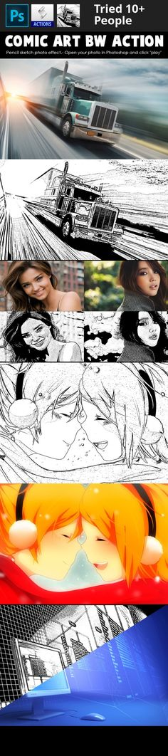 Buy Comic Art B&W Action by djjeep on GraphicRiver. Drawing / Sketch Comics Effect Photoshop Action. Comic-book effect Action. Pencil sketch photo effect. Just drag the . Make A Comic Book, Comic Books Art, Comic Art, Book Art, Sketch Photoshop, Photoshop Photos, Effects Photoshop, Photoshop Actions, Photography Tools