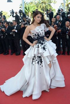 Aishwarya Rai Bachchan in a white gown by Ralph and Russo at the 2015 Cannes Film Festival.