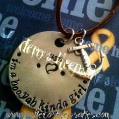 Navy Wife,Navy Girlfriend- Navy - Hooyah kinda Girl hand stamped Nickle brown suede leather necklace with love anchor  -Hand made   $8.00 plus shipping  www.myheroskeepsakes.com www.facebook.com/myheroskeepsakes