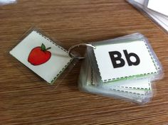 DIY flash cards, laminated & on a ring.  Good idea for on the go.