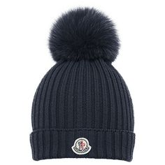 Moncler Fur Pom-Pom Ribbed Wool Hat ❤ liked on Polyvore featuring accessories, hats, pompom hat, woolen hat, cold weather hats, fur hat and pom pom hat