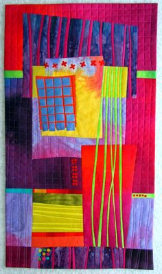Art Deco Panel Hand dyed cottons, fused, machine quilted. 14x24