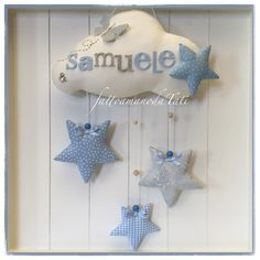 Fiocco nascita nuvola by fattoamanodaTati Hanukkah, Wreaths, Sewing, Crafts, Diy, Decor, Dresses, Craft Ideas, Fabric Hearts