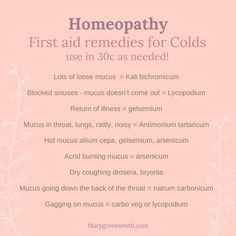 First Aid Remedies for Colds. Natural Treatments, Natural Remedies, Mucus In Throat, Blocked Sinuses, Homeopathy Medicine, Homeopathic Remedies, Alternative Medicine, Natural Medicine