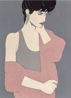 """Patrick Nagel (1945-1984), """"Untitled"""", acrylic on canvas. (US)"""