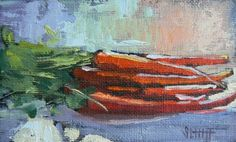 Original Oil Mini Vegetable Painting,  Carrots (fall harvest) painting by artist Carol Schiff