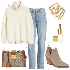 how to style for winter a chunky white winter sweater slim light wash jeans suede ankle booties with a Gucci bag, how to style light wash vintage slim girlfriend jeans for winter, women casual outfit Day Date Outfits, Jean Outfits, Fashion Outfits, Fashion Ideas, White Outfits For Women, Beige Jeans, Casual Winter Outfits, Fall Outfits, Light Wash Jeans