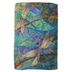 Colorful Dragonflies Kitchen Towel