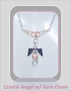 pink angel necklaceBreast Cancer by ArtistiCreationsRose on Etsy