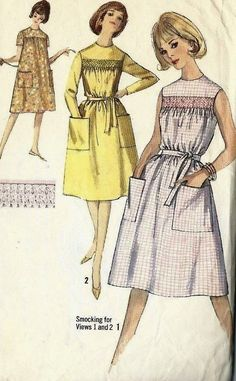 """Vintage 1960s Sewing Pattern Simplicity 5435 Smocked Front Dress Bust 36"""" #Simplicity"""