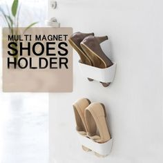 2pcs Creative Wall Mounted Multi Magnetic Shoes Holder Rack Coffee,£6.35