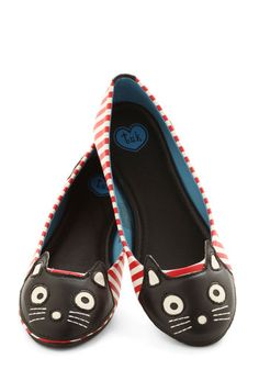 Up Your Alley Cat Flat - Red, Black, White, Stripes, Casual, Kawaii, Faux Leather, Flat, Cats, Halloween