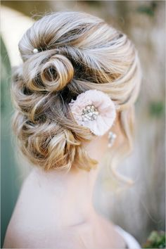 curly wedding updos, curly wedding hairstyles, wavy wedding hair – twisted wedding updo - New Site Curly Wedding Hair, Wedding Hair And Makeup, Wedding Updo, Wedding Beauty, Hair Makeup, Wedding Bride, Twist Hairstyles, Pretty Hairstyles, Wedding Hairstyles