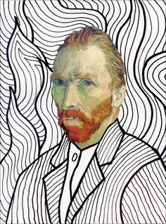 Art Projects for Kids: Van Gogh FREE Head Template. Just print and make your own masterpiece.